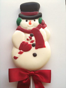 Large Snowman with Candy cane Pop