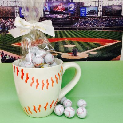 Ceramic Baseball Mug with Chocolate
