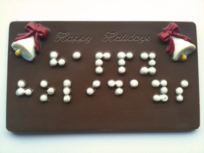 Happy Holidays card in Braille